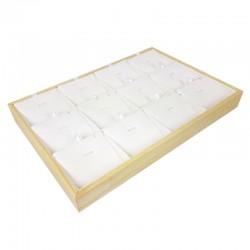 Plateau de présentation en bois et simili cuir blanc 12 chaînes et pendentifs - 9377