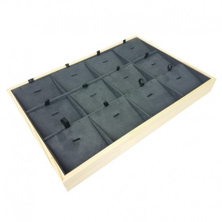 Plateau de présentation en bois et suédine gris anthracite 12 chaînes et pendentifs - 9379