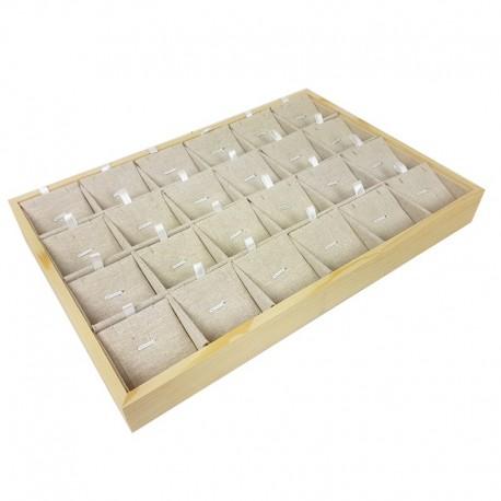 Plateau de présentation en bois et coton beige 24 chaînes et pendentifs - 9380