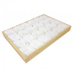 Plateau de présentation en bois et simili cuir blanc 24 chaînes et pendentifs - 9381