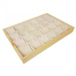 Plateau de présentation en bois et suédine beige rosé 24 chaînes et pendentifs - 9382