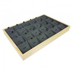 Plateau de présentation en bois et suédine grise 24 chaînes et pendentifs - 9383