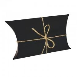 25 boîtes cadeaux berlingot en carton pelliculé noir 10x17x4.5cm - 9386