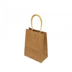 12 petits sacs cadeaux papier kraft brun naturel 15x8x21cm - 9423