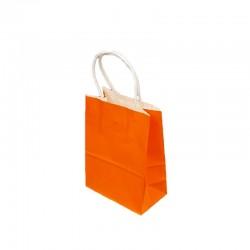 12 petits sacs cadeaux papier kraft orange 15x8x21cm - 9427