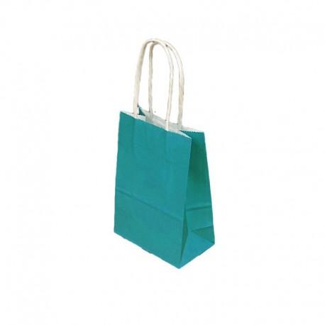 12 petits sacs cadeaux papier kraft bleu turquoise 15x8x21cm - 9431