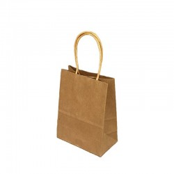 Lot de 12 sacs papier kraft uni brun naturel 21x11x27cm - 9433