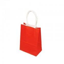 Lot de 12 sacs papier kraft uni rouge 21x11x27cm - 9436