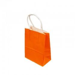 Lot de 12 sacs papier kraft uni orange 21x11x27cm - 9437