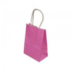 Lot de 12 sacs papier kraft uni rose fuchsia 21x11x27cm - 9439