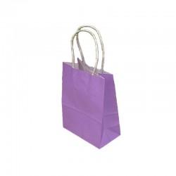 Lot de 12 sacs papier kraft uni mauve lilas 21x11x27cm - 9440