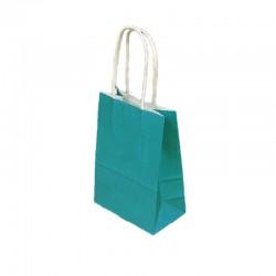 Lot de 12 sacs papier kraft uni bleu turquoise 21x11x27cm - 9441