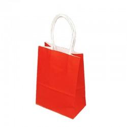Lot de 12 sacs kraft uni couleur rouge 26x12x33cm - 9446