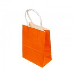 Lot de 12 sacs kraft uni couleur orange 26x12x33cm - 9447