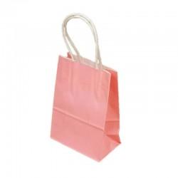 Lot de 12 sacs kraft uni couleur rose clair 26x12x33cm - 9448
