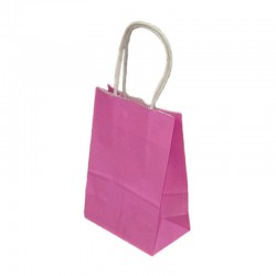 Lot de 12 sacs kraft uni couleur rose fuchsia 26x12x33cm - 9449