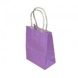 Lot de 12 sacs kraft uni couleur mauve lilas 26x12x33cm - 9450