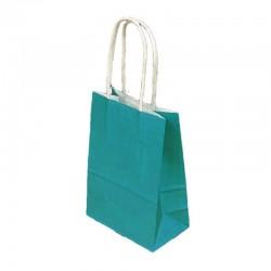Lot de 12 sacs kraft uni couleur bleu turquoise 26x12x33cm - 9451
