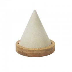 Cône pour bracelet en bois et en suédine beige - 9464