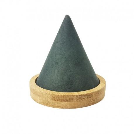 Cône pour bracelet en bois et en suédine grise - 9465