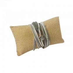 Lot de 20 coussins bracelets en toile de jute 13x7cm - 9469x20