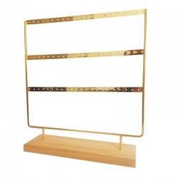 Porte boucles d'oreilles en bois clair et en métal doré 33 paires - 9476