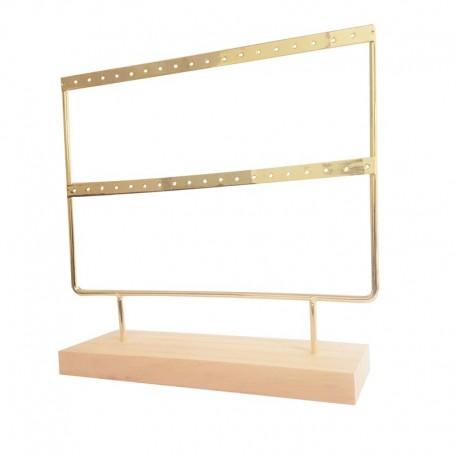 Porte boucles d'oreilles en métal doré sur socle en bois 18 paires - 9479