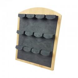 Présentoir à boucles d'oreilles 12 paires en bois et en suédine grise - 9483