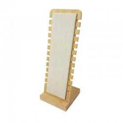 Présentoir colliers vertical petite largeur en bois et coton beige - 9487