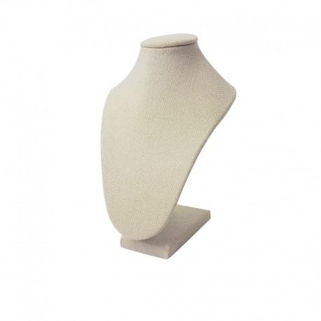 Mini buste bijoux en coton beige naturel pour colliers - 9495