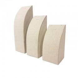 3 présentoirs rectangulaires en coton beige naturel pour chaîne et pendentif - 9473