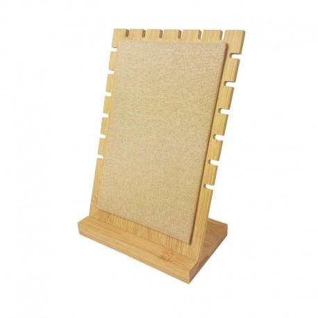 Présentoir bijoux pour chaînes en bois et tissu beige - 9499