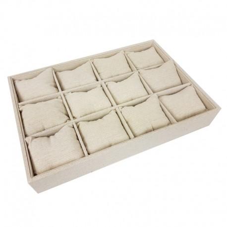 Présentoir à coussins pour montres en coton beige naturel - 9508