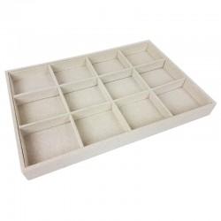 Plateau bijoux en coton beige naturel à casiers - 9504