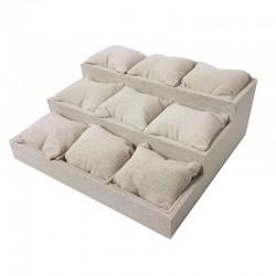 Présentoir en coton beige naturel avec 9 coussins amovibles - 9510