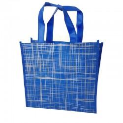 Lot de 12 sacs cabas non-tissés bleus motif argenté 35x12x32cm - 9524