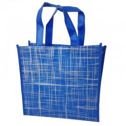 6 grands sacs cabas non tissés bleus motif argenté 42x12x38cm - 9530