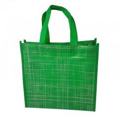 Lot de 6 sacs cabas non-tissés verts motif argenté 35x12x32cm - 9520