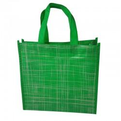 6 grands sacs cabas non tissés verts motif argenté 42x12x38cm - 9526
