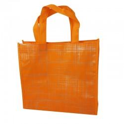 Lot de 6 sacs cabas non-tissés oranges motif argenté 35x12x32cm - 9521