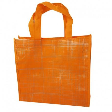 6 grands sacs cabas non tissés oranges motif argenté 42x12x38cm - 9527