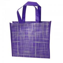 Lot de 6 sacs cabas non-tissés violets motif argenté 35x12x32cm - 9523