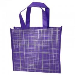 6 grands sacs cabas non tissés violets motif argenté 42x12x38cm - 9529