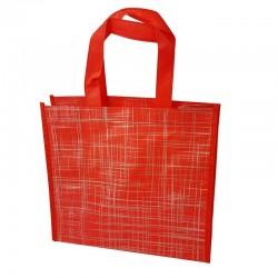 Lot de 6 sacs cabas non-tissés rouges motif argenté 35x12x32cm - 9522