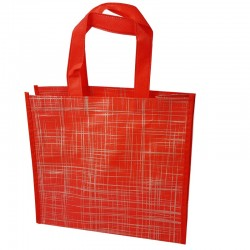 6 grands sacs cabas non tissés rouges motif argenté 42x12x38cm - 9528