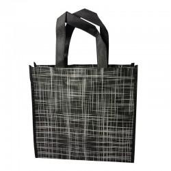Lot de 6 sacs cabas non-tissés noirs motif argenté 35x12x32cm - 9525