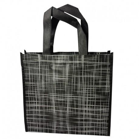 6 grands sacs cabas non tissés noirs motif argenté 42x12x38cm - 9531