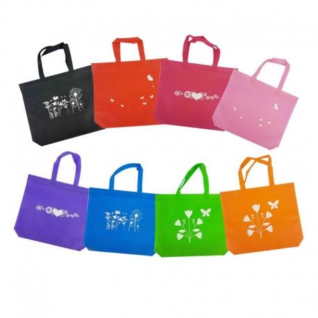 Lot de 96 petits sacs cabas non tissés 8 couleurs 30+10x26cm - 9532p