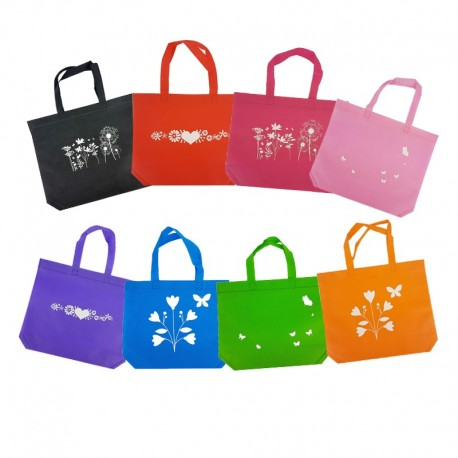 Lot de 96 grands sacs cabas non tissés 8 couleurs 30+10x26cm - 9533g