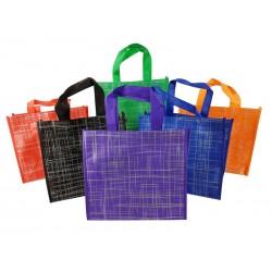 Lot de 72 petits sacs cabas motifs argentés 6 couleurs 28x12x25cm - 9534p